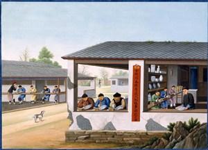 古代瓷器厂另一角集市贸易场景绘画图片