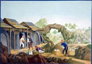 古代烧窑厂集市贸易场景绘画图片