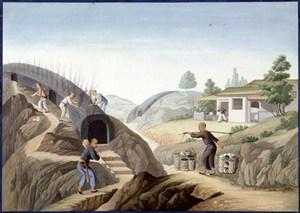 古代大型烧窑集市贸易场景绘画图片