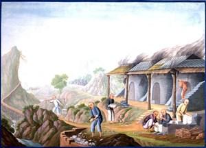 古代检查陶瓷质量集市贸易场景绘画图片