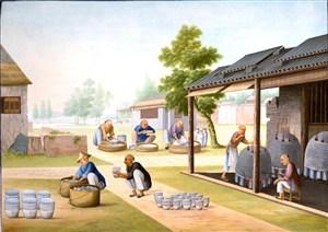古代整理瓷器集市贸易场景绘画图片