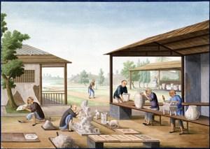 古代瓷器雕塑集市贸易场景绘画图片
