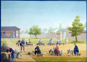古代瓷器工坊集市贸易场景绘画图片