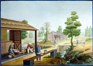 古代农村瓷器厂集市贸易场景绘画图片