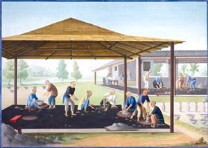 古代公民制瓷集市贸易场景绘画图片