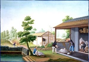 古代锤纱集市贸易场景绘画图片