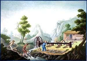 古代搬运石块集市贸易场景绘画图片