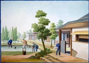 古代洗纱集市贸易场景绘画图片