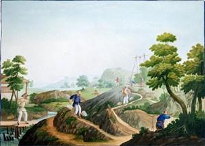 古代扛纱集市贸易场景绘画图片
