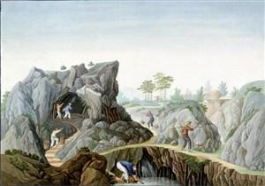古代石矿集市贸易场景绘画图片