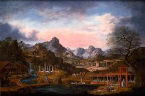 清蜥古代集市贸易场景绘画图片