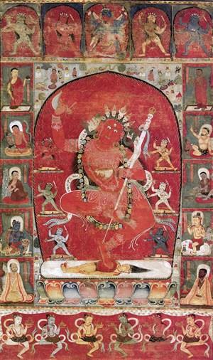 红色菩萨敦煌佛像壁画绘画图片