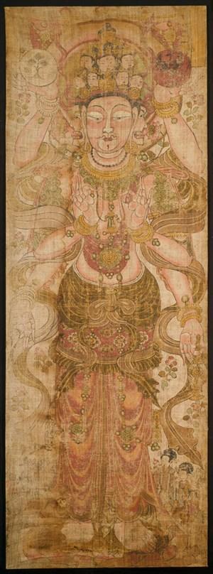 三面佛敦煌佛像壁画绘画图片