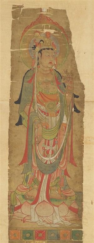 头顶火红光圈菩萨敦煌佛像壁画绘画图片
