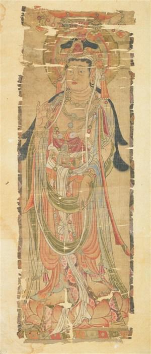 古画身戴珠宝的菩萨敦煌佛像壁画绘画图片
