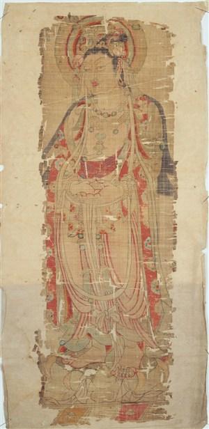 站在大莲花上的菩萨敦煌佛像壁画绘画图片