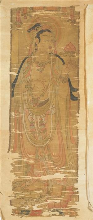 古旧画作拿着花苞莲花敦煌佛像壁画绘画图片