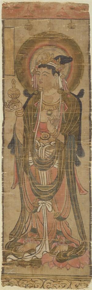 手托宝瓶的菩萨敦煌佛像壁画绘画图片