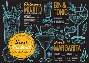彩绘线描鸡尾酒菜单设计模板