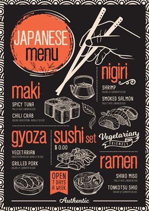 日式寿司店菜单菜谱设计模板