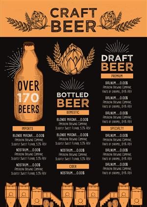 精酿啤酒菜单设计模板