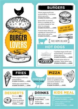 美式汉堡店菜单内页设计模板