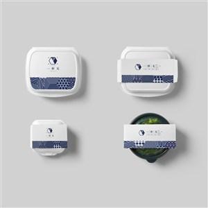 创意餐饮vi4种一次性打包盒贴图样机