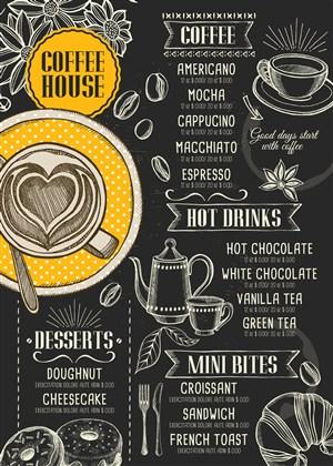 手绘线描咖啡厅菜单设计模板