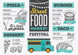 汉堡面包披萨甜品快餐食品菜单设计模板