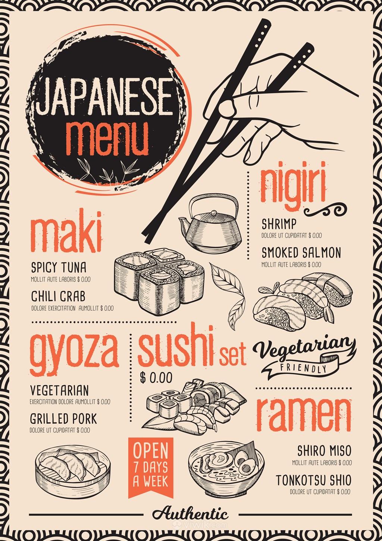 手绘日本寿司店菜单设计模板