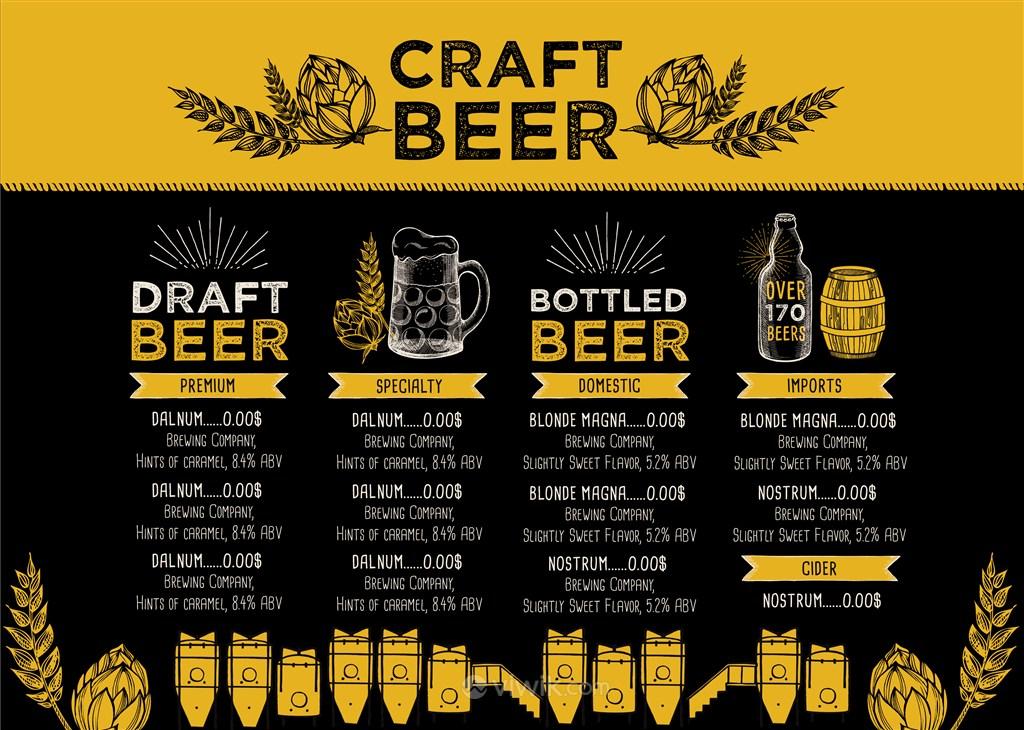 高档啤酒精酿菜单设计模板