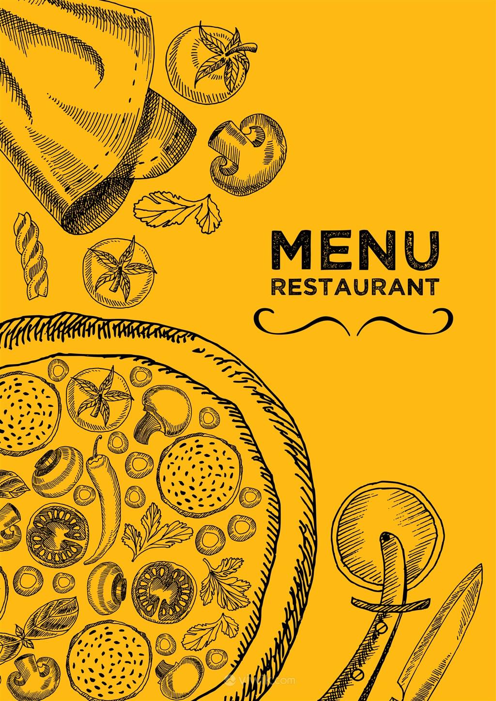 西式餐厅披萨店菜单封面设计模板