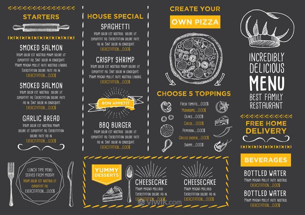 西式餐厅披萨店菜单内页设计模板