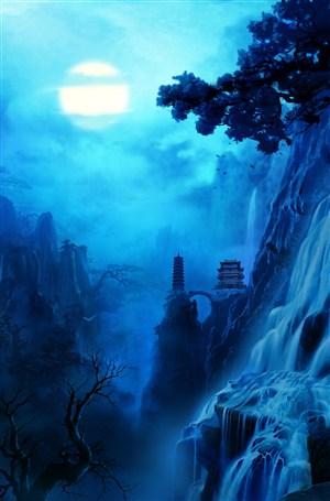 深蓝黑夜寂静中国风CG原画图片