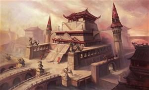 中国沙漠上的古宫殿风CG原画图片