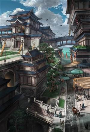 中国风古装人物建筑物CG原画图片