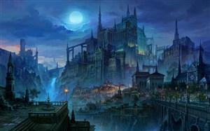 蔚藍夜色中國風城堡CG原畫圖片