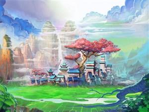 明媚七彩天空和碧绿草地中国风CG原画图片