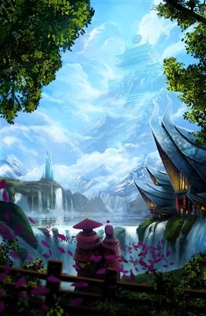 唯美高大的建筑物中国风CG原画图片