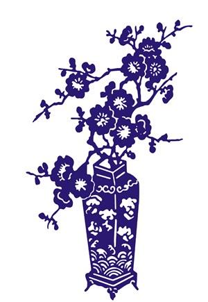 唯美浪花裝飾瓷器梅花陶瓷花瓶國粹青花瓷中國風圖片