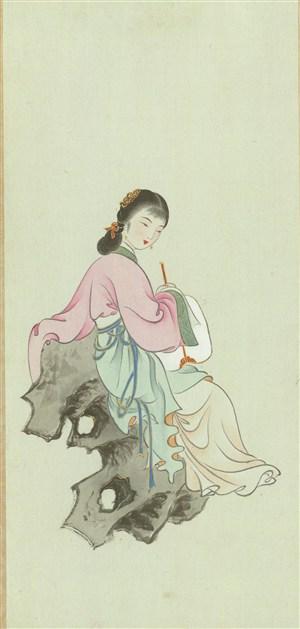 高清粉色上衣绿色裙摆高清金陵十二钗绘画图片