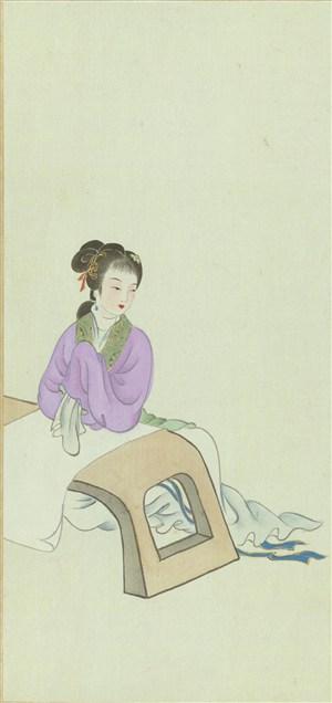 金陵十二钗靠在桌前的女子绘画图片