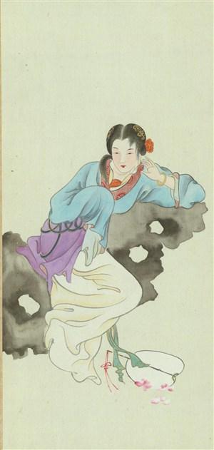 金陵十二钗靠在假山的女子绘画图片