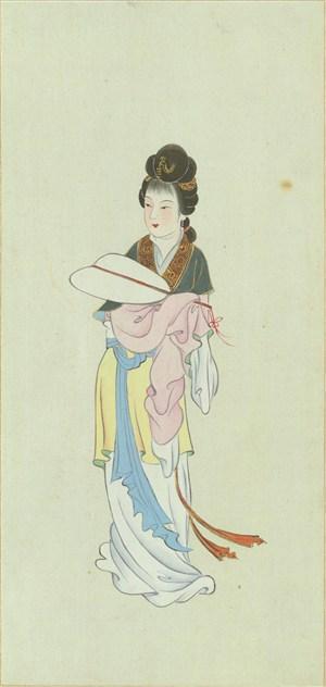 金陵十二钗花衣裳的女子绘画图片