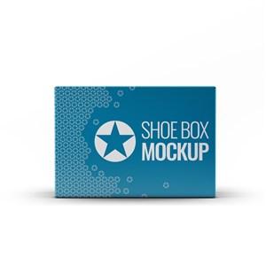 蓝色包装盒纸盒鞋盒贴图样机
