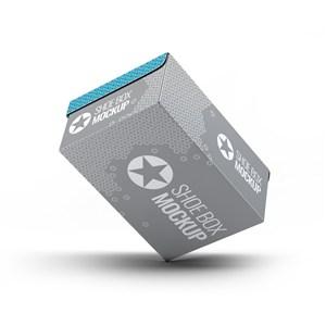 纸盒悬浮倾斜的鞋盒包装贴图样机