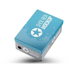 悬浮倾斜的纸盒鞋盒包装贴图样机