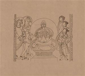 莫高窟敦煌壁画线描人物稿绘画图片