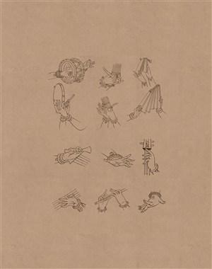 敦煌莫高窟演奏各种乐器的伎乐手姿绘画图片