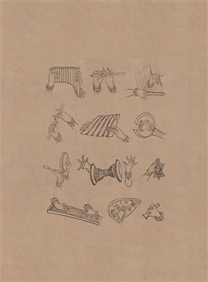 敦煌莫高窟演奏各种乐器的伎乐手绘画图片